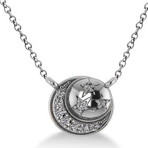Jewelry - NEW Moon/Stars Necklace, 14k White Gold & Diamonds